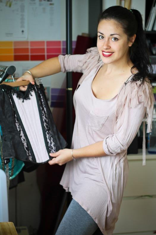 Titelle corsets designer, Christelle Cenatiempo, inside her atelier.  Photo by Emmanuelle Choussy.